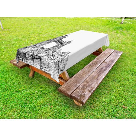 Vintage Outdoor Tablecloth, Old Fashion London Tower Bridge Sketch Architecture British UK Scenery Art Print, Decorative Washable Fabric Picnic Table Cloth, 58 X 84 Inches,Black White, by Ambesonne - Sketch London Halloween