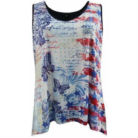 Asymetrical Tank (Plus Size Women Sleeveless Asymmetrical Hem Summer Holiday Tank Top Shirt Multi Butterfly 1X (17010))
