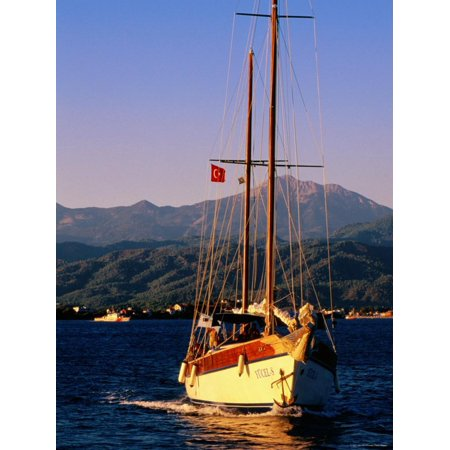 Yacht Cruising with Sails Down, Fethiye, Mugla, Turkey Print Wall Art By John Elk