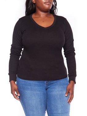 abd33d62219 Product Image Womens Basic Plus Size Thermal V-Neck Long Sleeves Top  XT1205V-XL-Black. Genx