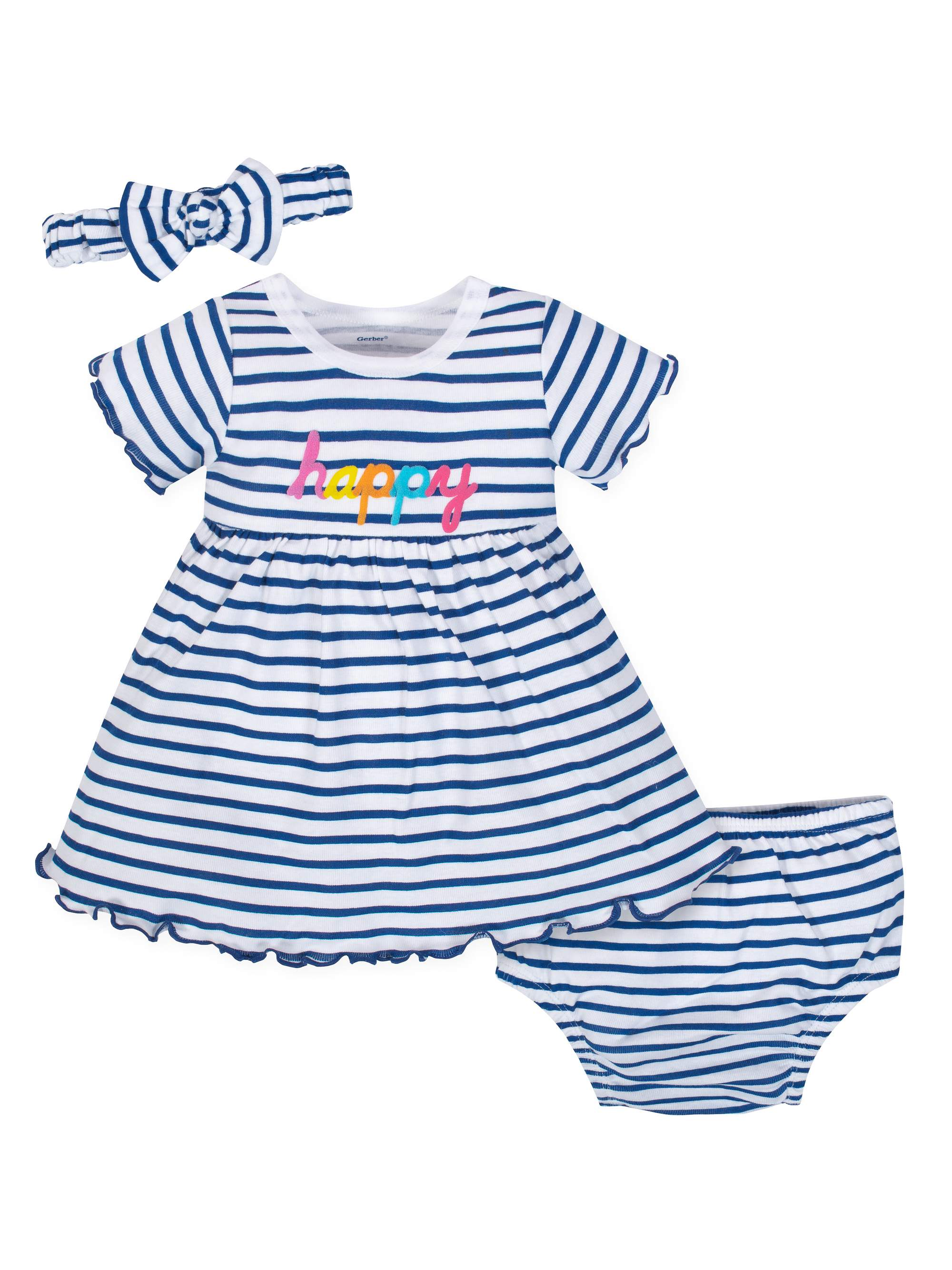 Dress with Diaper Cover and Headband Outfit Set, 3pc (Baby Girls)