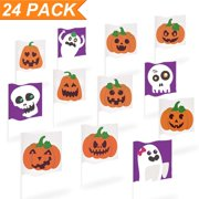 Halloween Yard Decorations, 24ct Small Stick Flags, Ghost Pumpkin Skeleton Mini Garden Flags, Halloween Trick or Treat Party Outdoor Decoration