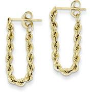 14K Yellow Gold Rope Chain Dangle Earrings