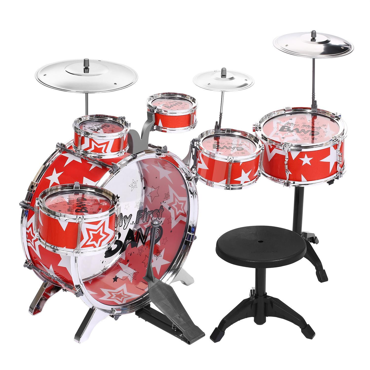 Kids Toy Musical Instrument 11 Piece Kids Drum Set with Stool USHHE