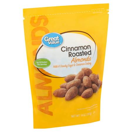 - Great Value Cinnamon Roasted Almonds, 14 Oz.