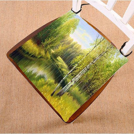 PHFZK Nature Landscape Scenery Chair Pad, The Wood River in Autumn Seat Cushion Chair Cushion Floor Cushion Two Sides Size 16x16