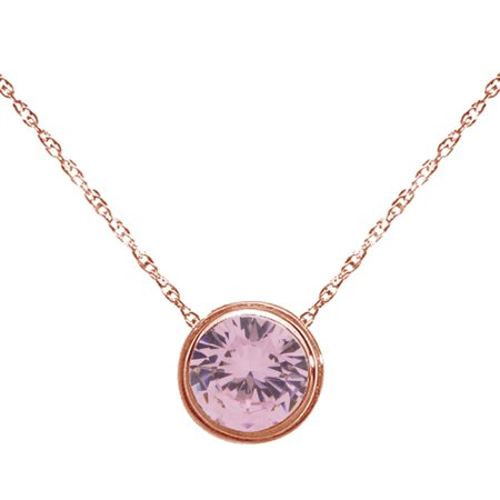 Round Shape Simulated Pink Tourmaline Solitaire Pendant Necklace 14K Rose Gold Over Sterling