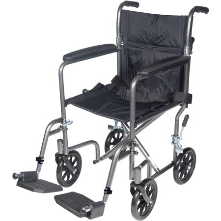 Drive Medical Lightweight Steel Transport Wheelchair  Fixed Full Arms  17  Seat