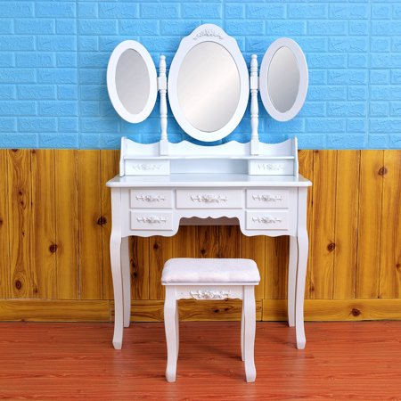 Makeup Table with Tri Folding Oval Mirror,Vanity Makeup Desk Set with Cushioned Stool & 7 Drawers for Bathroom Bedroom Make up Dressing ,Y00455