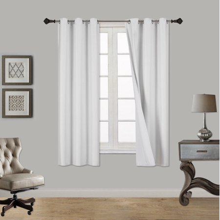 (SSS) 2-PC White Solid Blackout Room Darkening Panel Curtain Set, Two (2) Window Treatments of 37
