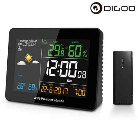 DIGOO DG-TH8788 WIFI Weather Forecast Station with Outdoor Sensor for Home,  Temperature and Humidity Display,Phone APP Remote Control
