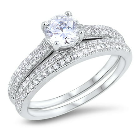 Round Clear CZ Micro Pave Wedding Ring ( Sizes 5 6 7 8 9 10 ) Set .925 Sterling Silver Band Rings (Size 8)