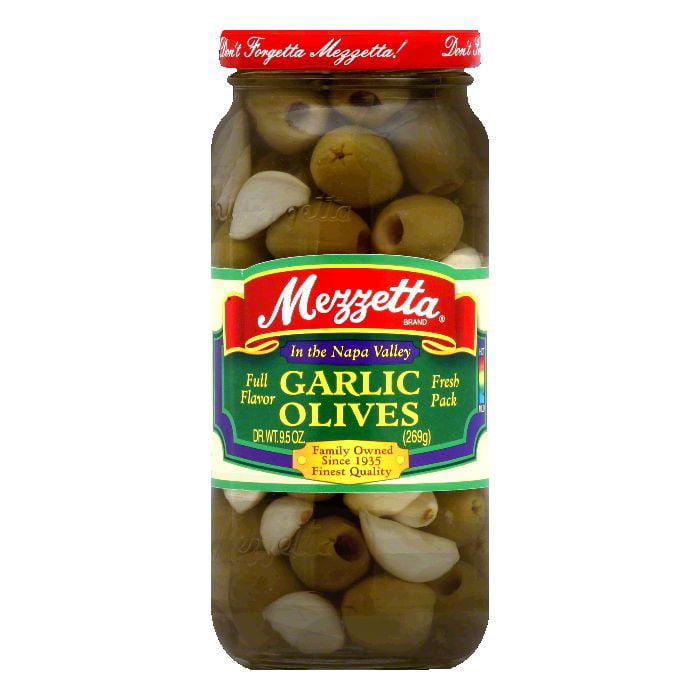 Mezzetta Olives Fresh Garlic, 9.5 OZ (Pack of 6)