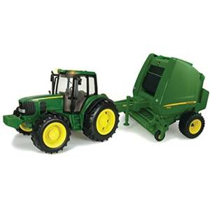 TOMY ERTL John Deere Big Farm Tractor and Baler by TOMY
