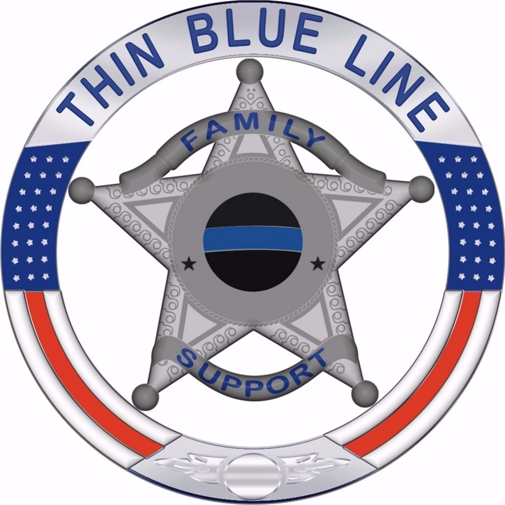 Thin Blue Line Family Support 5 Point Star Reflective Decal - 4 Inch