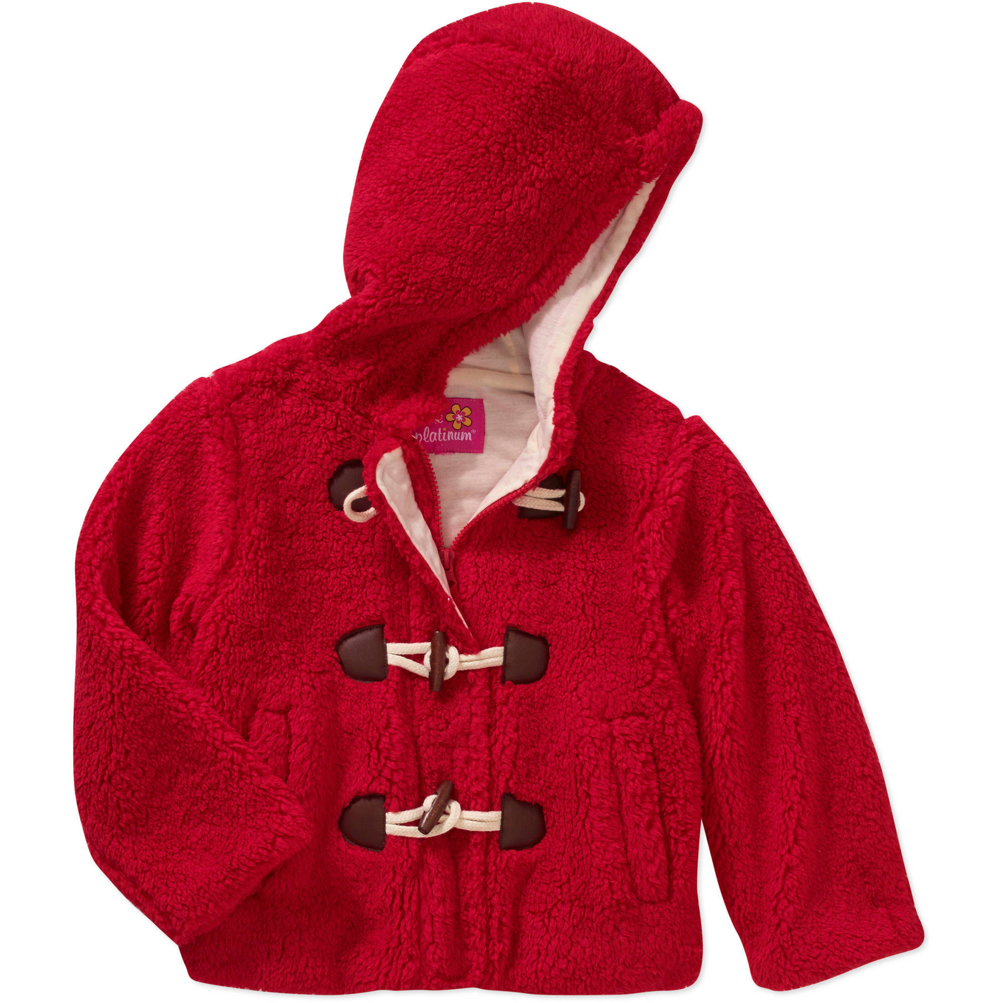 Pink Platinum Girls' Toggle Front Sherpa Lined Hooded Coat with Pockets
