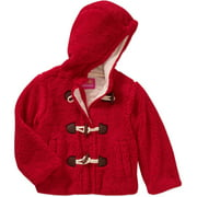 Girls' Toggle Front Sherpa Lined Hooded Coat with Pockets