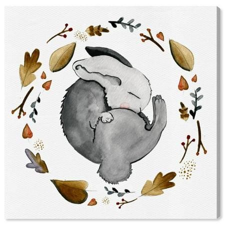 Wynwood Studio 'Sleeping Bunny' Animals Wall Art Canvas Print - Gray, Gold, 12