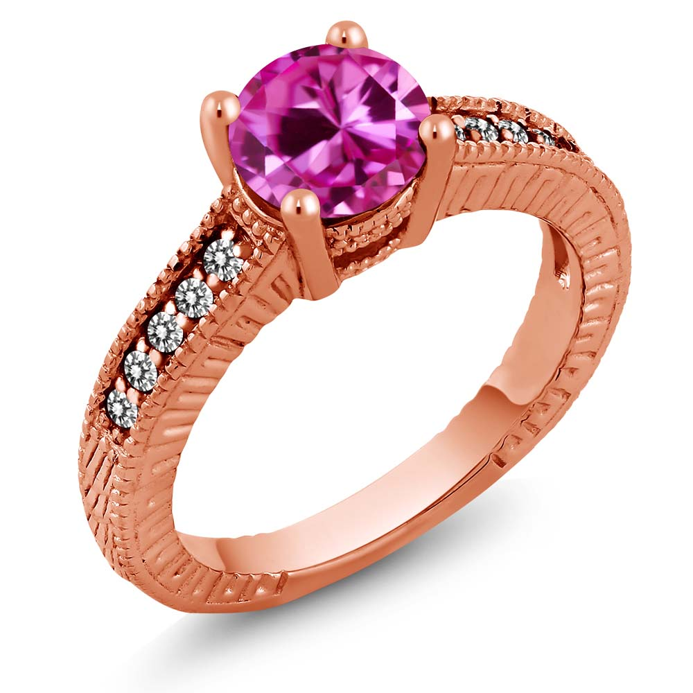 1.83 Ct Pink Created Sapphire White Diamond 18K Rose Gold Plated Silver Ring by