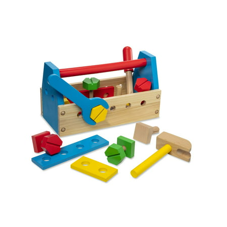 Melissa & Doug Jumbo Wooden Tool Kit Toy Nursery Playroom Décor – Classic (Red, Yellow, Green, Blue, Great Gift for Girls and Boys - Best for 2, 3, 4 Year Olds and Up) Melissa And Doug Wood Classic Board