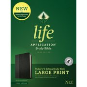 NLT Life Application Study Bible, Third Edition, Large Print (Red Letter, LeatherLike, Black/Onyx, Indexed)