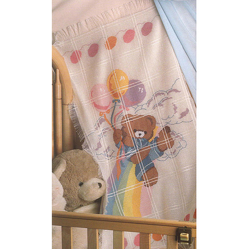 """Bear And Balloons Baby Afghan Counted Cross Stitch Kit, 29"""" x 45"""" 18 Count"""