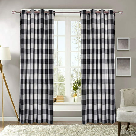Plaid Window Curtain - Decotex 1 Piece Plaid Courtyard Buffalo Checkered Grommet Top Window Curtain Drape Panel or Valance (53