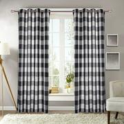 "Decotex 1 Piece Plaid Courtyard Buffalo Checkered Grommet Top Window Curtain Drape Panel or Valance (53"" X 63"", Black/Beige)"