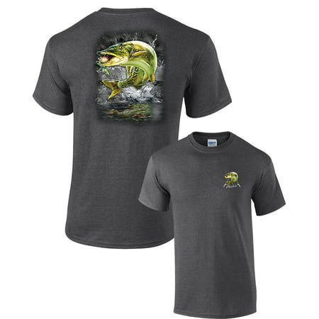Fishing T-shirt Muskie Jumping Out of the Water 2