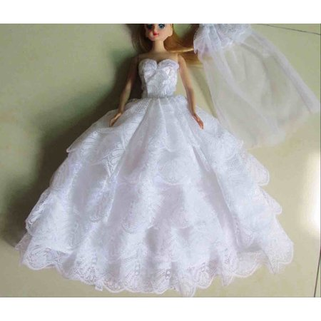 Lanlan 1 PCS Fashion Multi Layer Handmade Lace Party Gown Dresses With Veil For Dolls Doll Kid Gift White