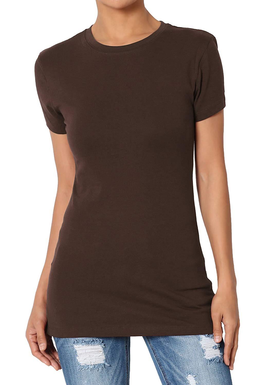 Women's & Juniors Basic Round Crew Neck Short Sleeve Stretch Cotton Spandex T-Shirts