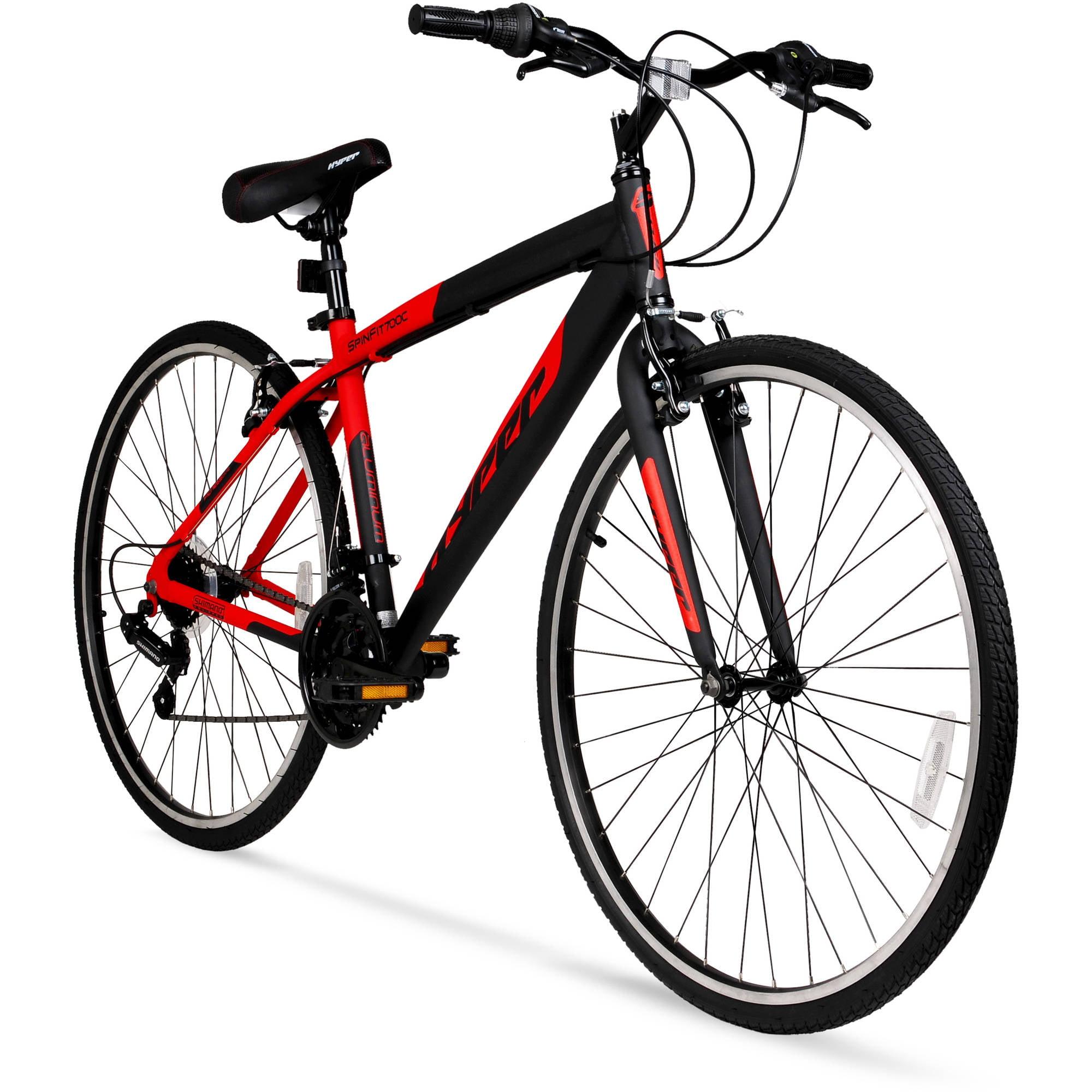 700c Hyper SpinFit Men\'s Hybrid Bike, Red - Walmart.com