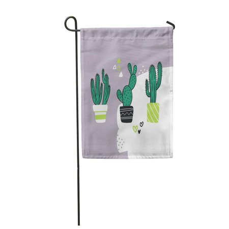 NUDECOR Green Cute Cactus Cartoon in Pastel Collection of Flower Garden Flag Decorative Flag House Banner 12x18 inch - image 1 de 1