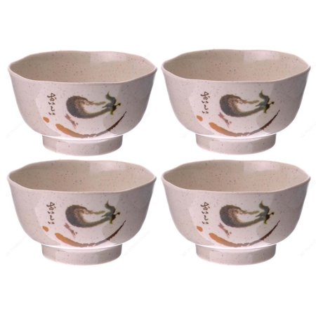 - M.V. Trading EP129 Rice Miso Soup Bowls Melamine Bowls with Eggplant Design Series, 12-Ounces, 4¼-Inches, Set of 4