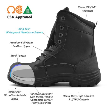 meet 6bf71 b409f Tiger Men's Safety Boots Steel Toe Waterproof CSA Approved Lightweight 8
