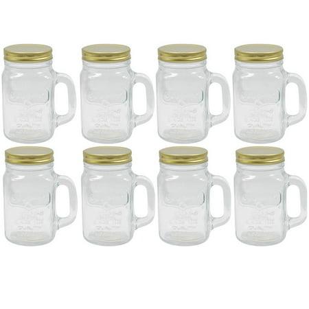 8 Mason Jar With Handle Lid Mug Rustic Bridal Wedding Drinking Glass Clear 16oz