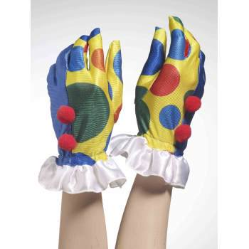 CLOWN GLOVES W/POM POMS