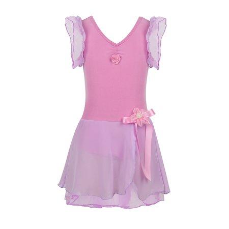 Girls Ruffle Sleeves Ballet Dance Dress Tutu Leotard Fancy Costume](Toddler Leopard Dress)