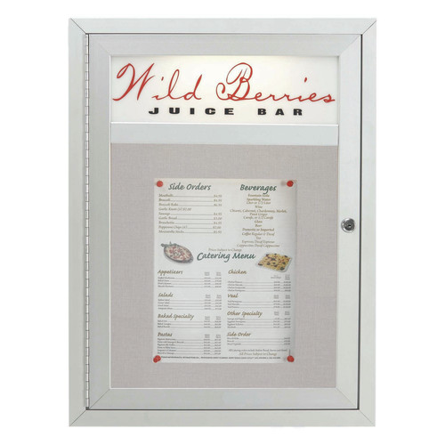AARCO Products MSC2418H Main Street Style Indoor-Outdoor Enclosed Bulletin Board With Header