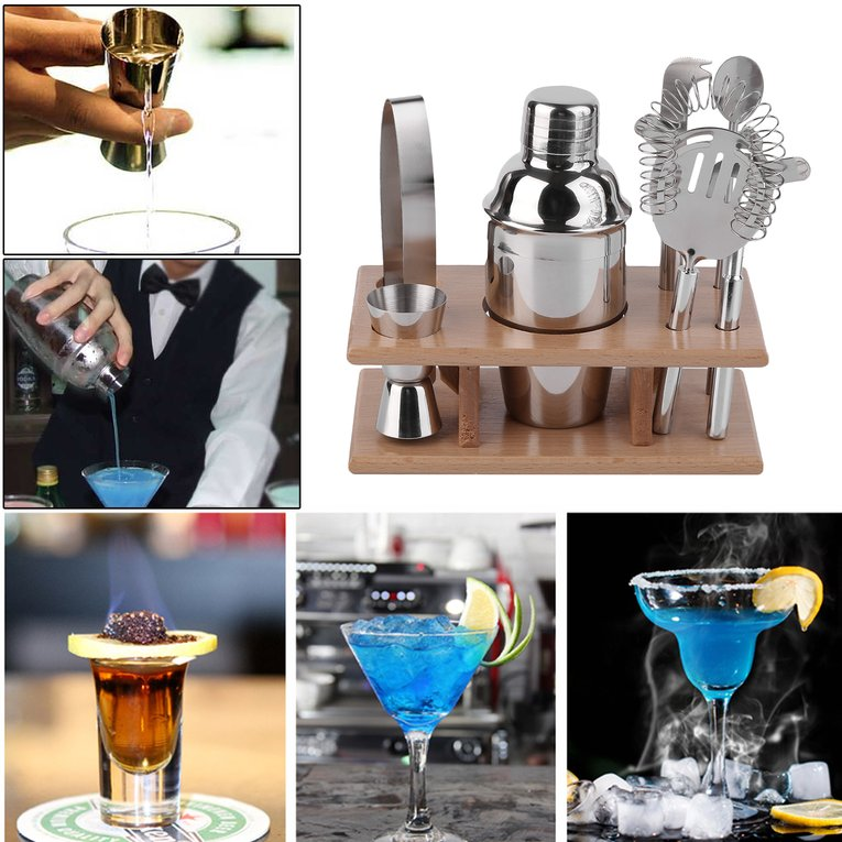 8 Pieces Stainless-steel Bar Set With Wood Shelf Bartender Martini Tools Kit by