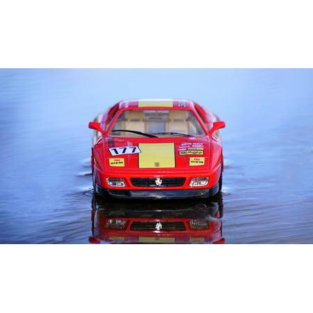 Canvas Print Red Toy Car Sports Car Ferrari Model Car Miniature