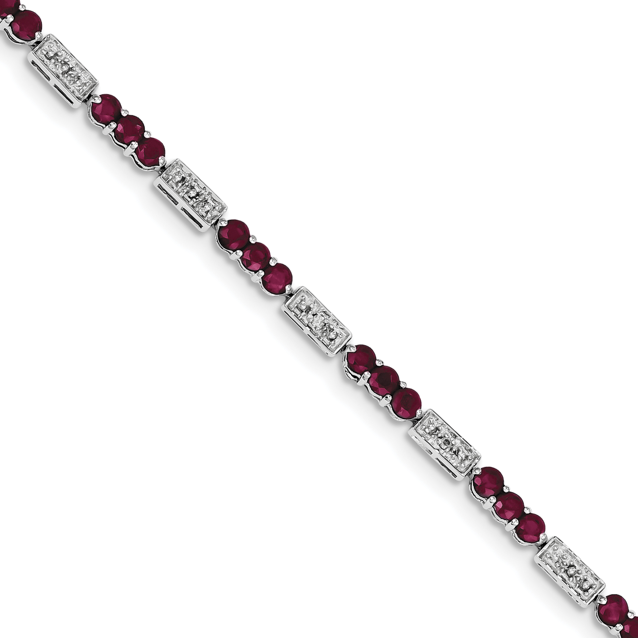 woman sterling silver Ruby Gemstone bracelet 7.5 Inch Mother/'s Day Gift Sterling Silver Ruby /& Diamond Stone Tennis Bracelet
