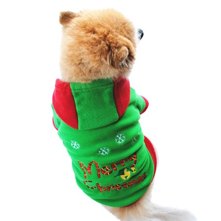 Mosunx Christmas Pet Dog Puppy Hoodie Sweater Fleece Warm Clothes - Pet Christmas Clothes