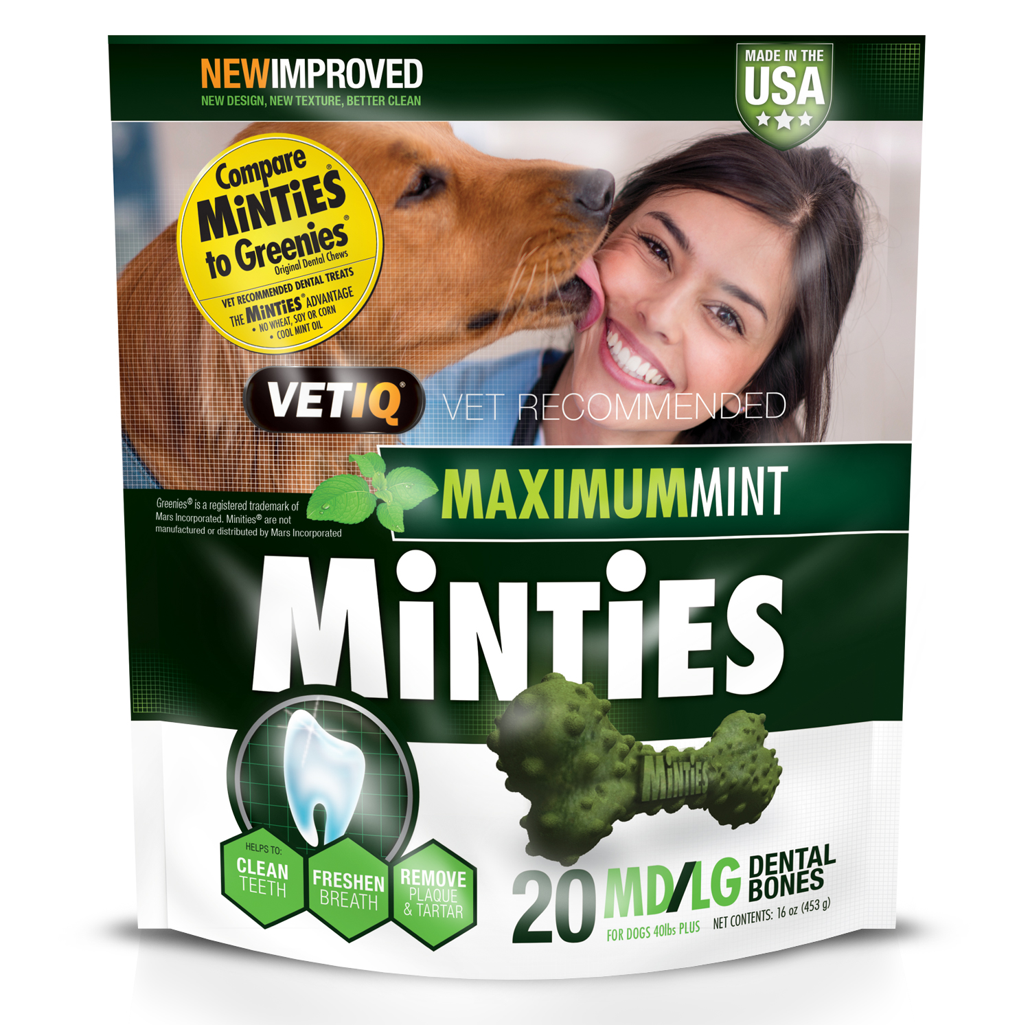 Minties Teeth Cleaner Dental Dog Treats Medium/Large, 20 Count