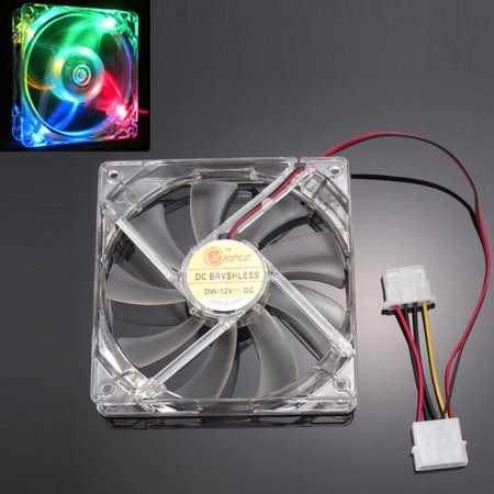 Colorful Quad 4-LED Light Neon Clear 120mm PC Computer Case Cooling Fan