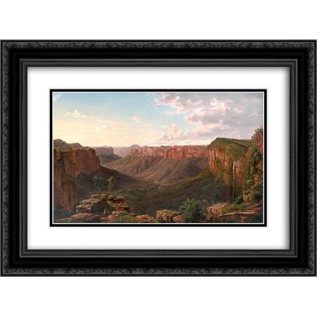 Eugene Von Guerard 2X Matted 24X18 Black Ornate Framed Art Print Govetts Leap And Grose River Valley  Blue Mountains  New South Wales