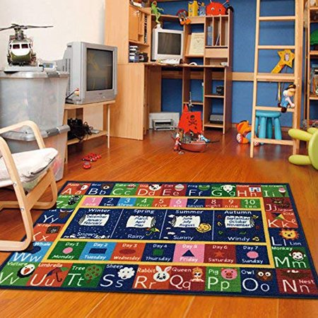 ABC Alphabet, Seasons, Months and Days Kids and Children Bedrooms Rug (Alphabet Rug)