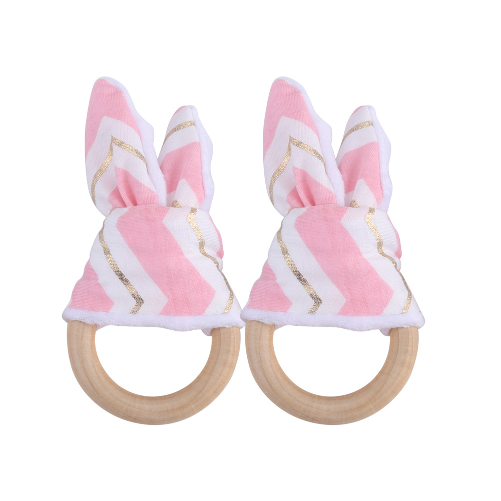 2pcs Baby Infant Natural Wood Teething Ring with Fabric Decoration Wooden Teether Toy,Teething Ring, Natural Wood Teething Ring