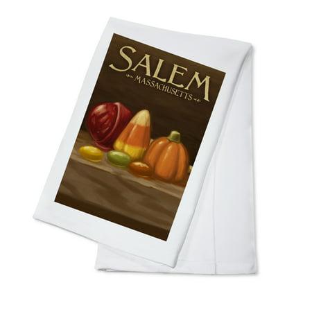 Salem, Massachusetts - Candy - Halloween Oil Painting - Lantern Press Artwork (100% Cotton Kitchen Towel)](Halloween Store Massachusetts)