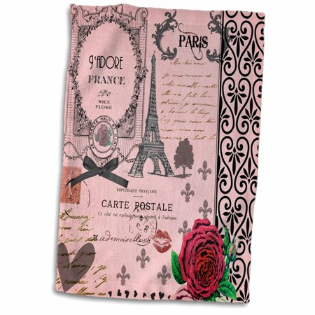 3dRose Stylish Vintage Pink Paris Collage Art - Eiffel Tower - Red Rose - Girly Gothic Black Bow and swirls - Towel, 15 by 22-inch